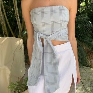 By The Way strapless tie front crop top
